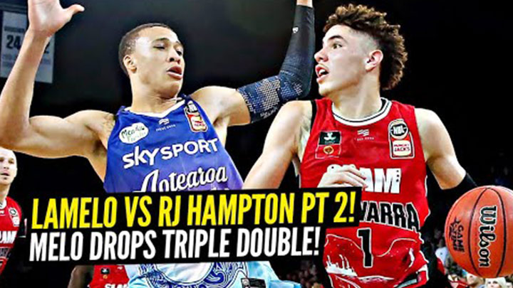 LaMelo Ball vs RJ Hampton Pt. 2! LaMelo Gets Second Triple Double in a Row & Dunks on Defender!