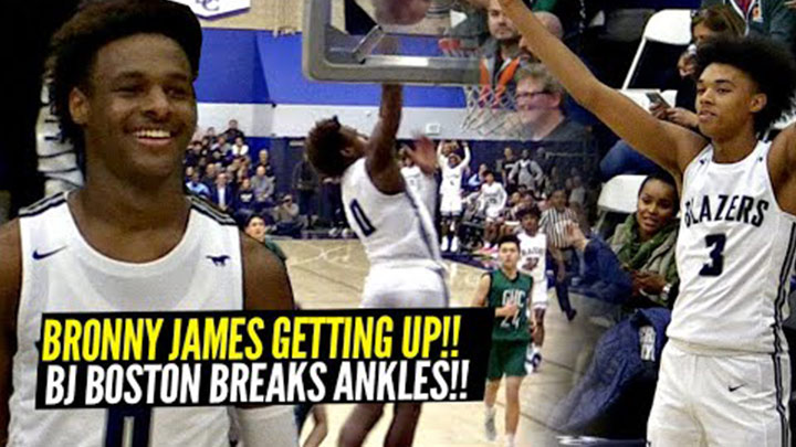 Bronny Throws Down Oop and BJ Boston Breaks Ankles in Sierra Canyon Blow Out!