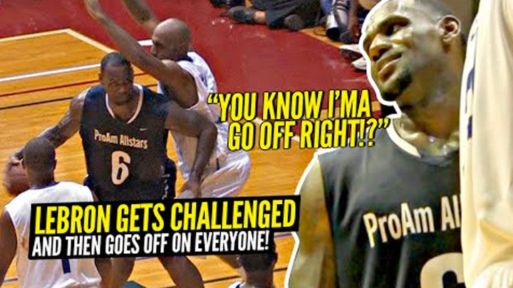 LeBron James Gets CHALLENGED & Then Proceeds To DESTROY EVERYONE!! Crazy Pick Up Game vs NBA Pros!