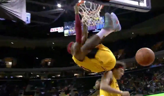 Kyrie Irving and LeBron connect on a big alley-oop dunk