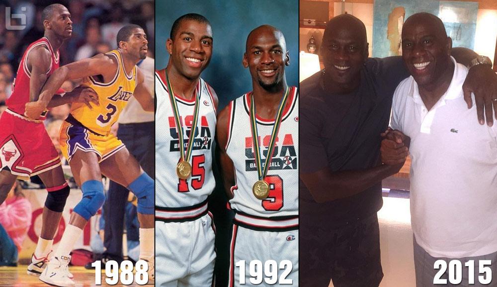 f410b92d52f Magic Johnson & Michael Jordan Reunited | MJ Vs Magic Through The Years
