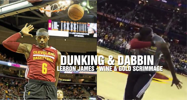 e8ceecd9471 LeBron James Dunking   Doing the Dabbin Dance at Cavs  Wine   Gold...(Read  more)