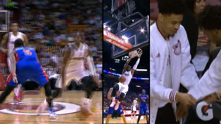 Hc84 Dwyane Wade Dunk Nba Flash Sports: Dwyane Wade Crossover On The Pope & Dunks Vs The Pistons