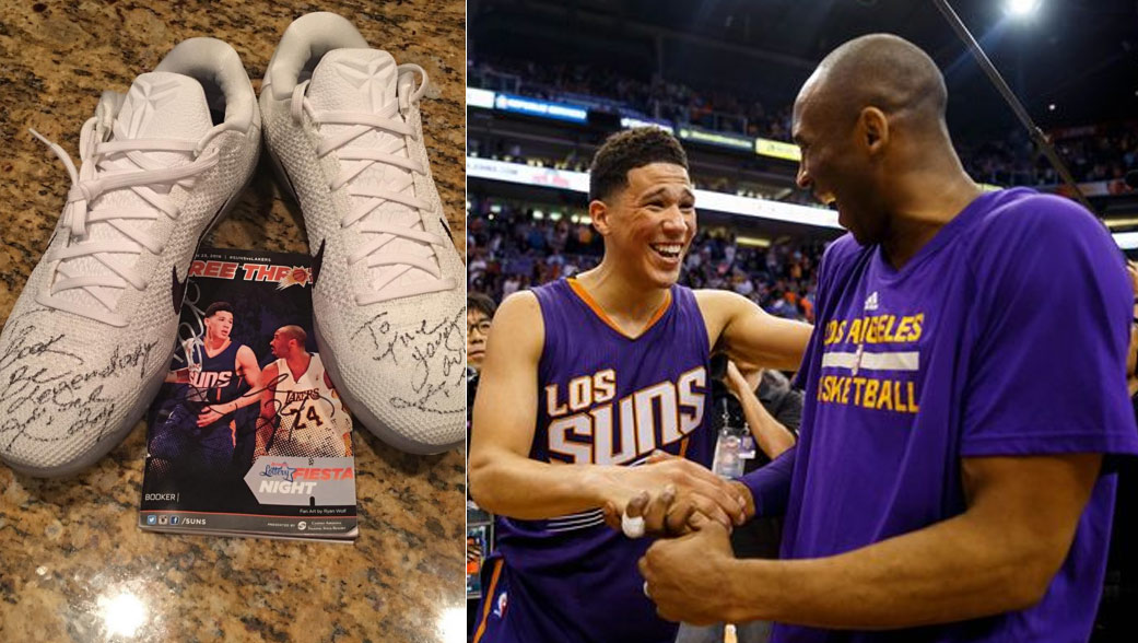 reputable site 7008d 58d57 Kobe Bryant Gives Advice & Signed Shoes To Devin Booker ...