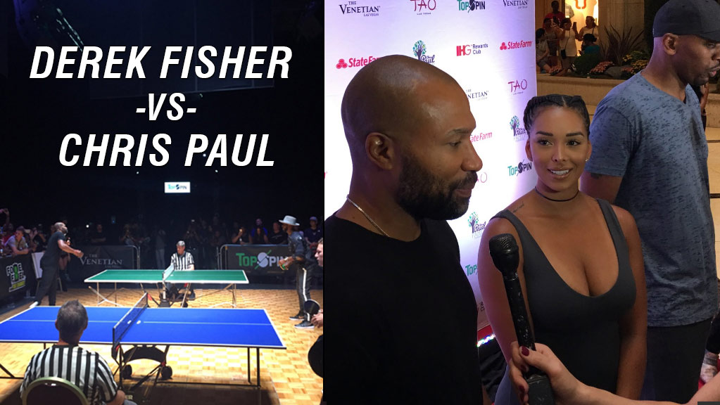 562760419b5d Derek Fisher With Gloria Govan at Chris Paul s Annual Ping Pong Charity  Event