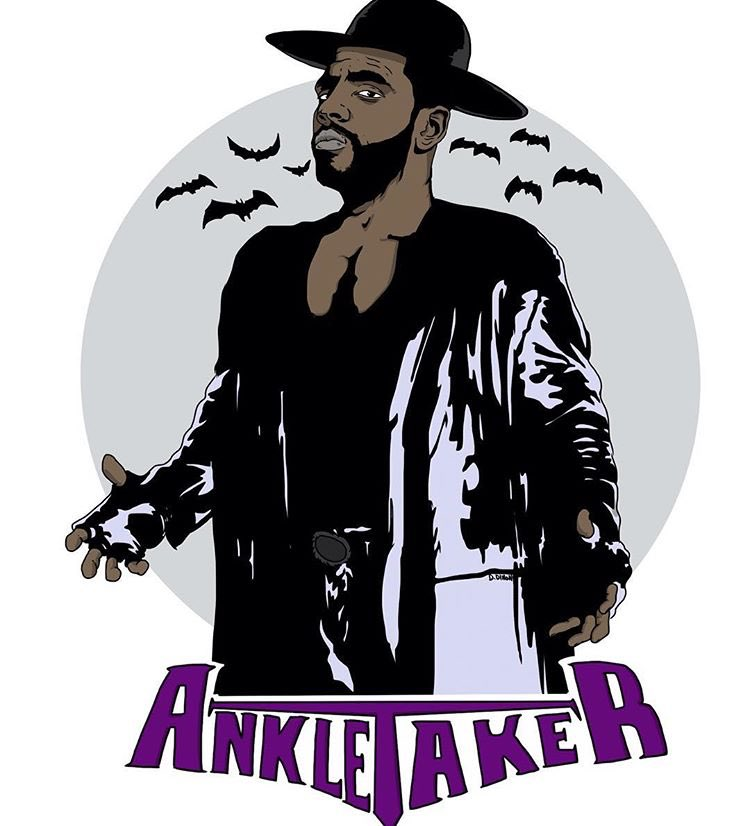 "detailed look fc936 dd095 Kyrie Irving Wears Awesome ""Ankletaker"" T-Shirt ..."