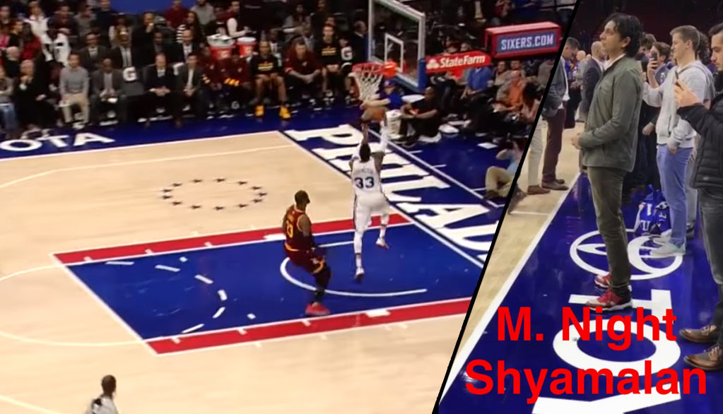 LeBron s Shadow With The Chase-Down Block On Robert Covington ... c9dc35b3b