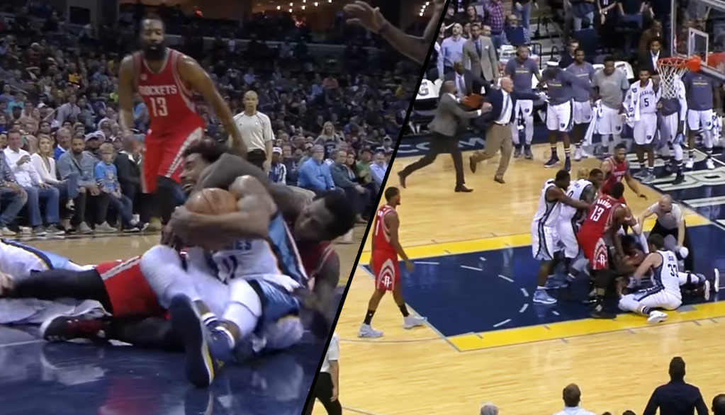 50c4787fb516 Patrick Beverley s Wrestling Move On Mike Conley Almost Caused The  Grizzlies Bench To Clear