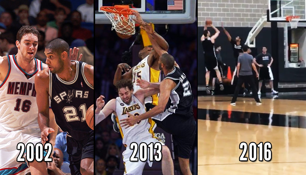57db35cab Retired Tim Duncan Comes To Practice   Plays Unconventional 1-on-1 Game With
