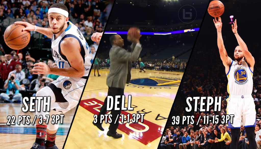 Curry Takeover Dell Seth Steph Curry Put On A Show On The Same Night Ballislife Com