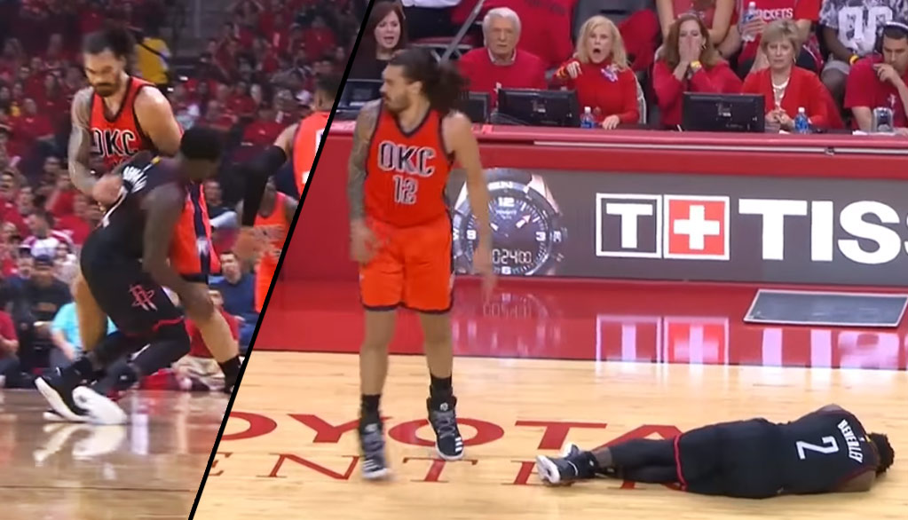 Patrick Beverley Gets Rocked By Steven Adams Hall Of Fame Brick