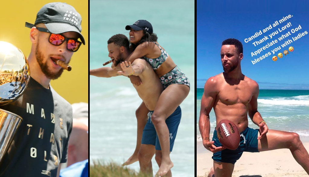 40540c2766c6 Relationship Goals  At The Beach With Ayesha   Steph Curry (Who Is Still  Smoking