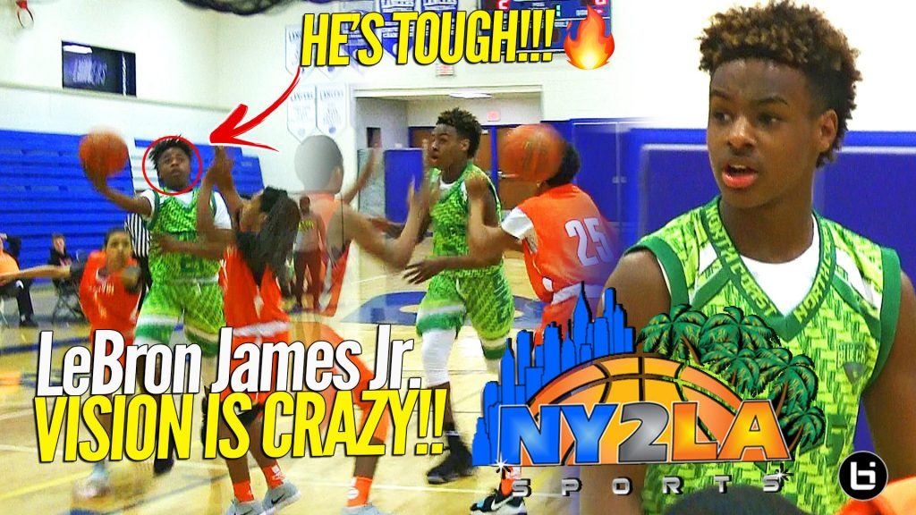 ca3d9deb518 LeBron James Jr Dropping DIMES!! Khoi Thurmond Shows Out in Blowout Game at  NY2LA ...