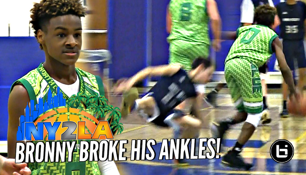d625626d6f4 LeBron James Jr BREAKS Defender s Ankles! Rayvon Griffith Hits The Mean  Dunk at NY2LA Debut ...