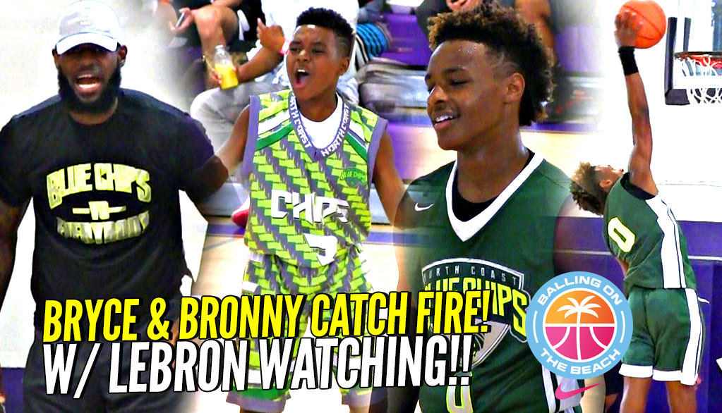 3748edecec1 LeBron James Watching Bryce Maximus CATCH FIRE!! Bronny Jr Goes OFF at  Balling On ...