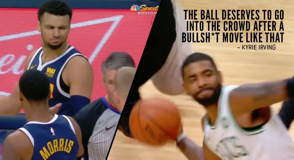 13f136137ee Kyrie Irving Throws Ball Into The Crowd After Jamal Murray Tried To Go For  51 At The...(Read more)