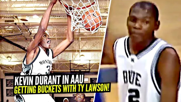Kevin Durant In AAU Getting BUCKETS w/ Ty Lawson!! He Was a 7 Foot GUARD & Has Come a LONG WAY!